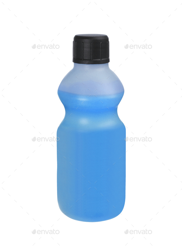 plastic bottles of cleaning products, isolated on white - Stock Photo - Images