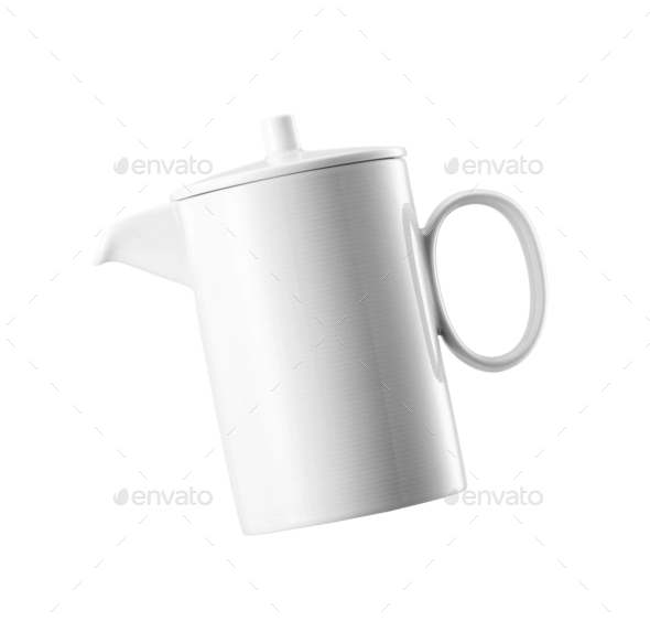 Ceramick teapot on white background - Stock Photo - Images