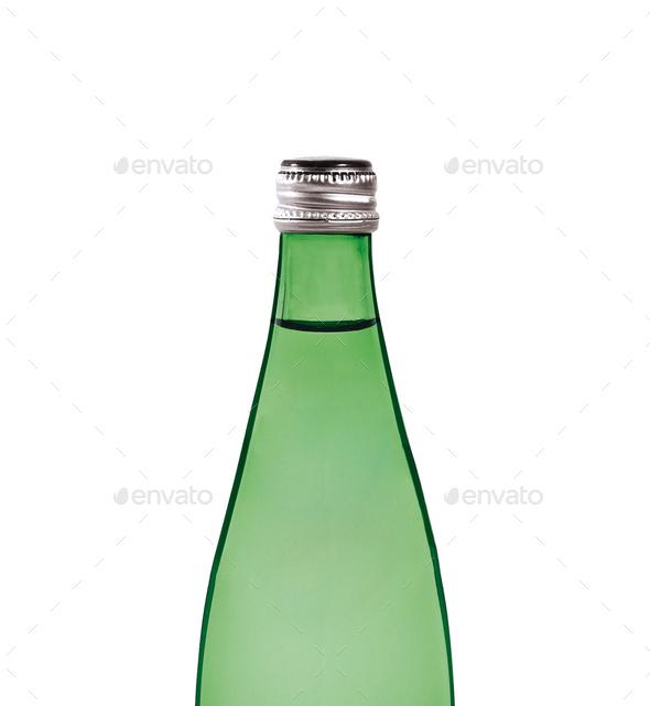 Green bottle isolated on white background - Stock Photo - Images