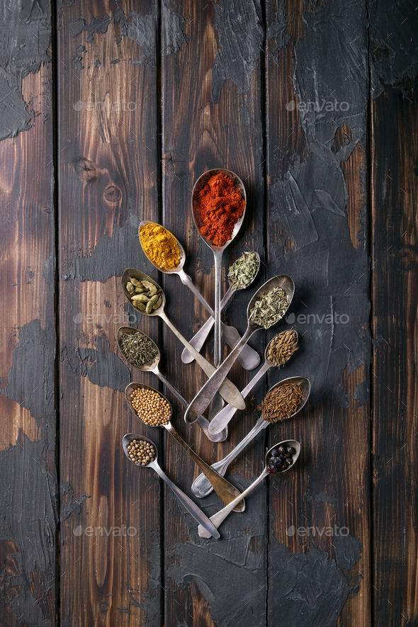 Selection of various spices and herbs - Stock Photo - Images