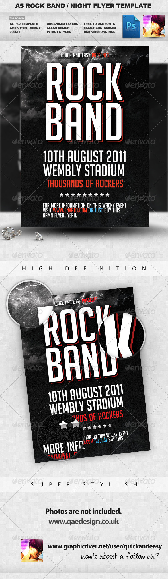 Rock Band Flyer Template   Clubs U0026 Parties Events
