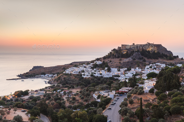 Lindos Castle and village, Greece - Stock Photo - Images