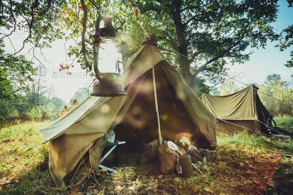 World War II German Wehrmacht Infantry Tent In Forest Camp. WWII - Stock Photo - Images