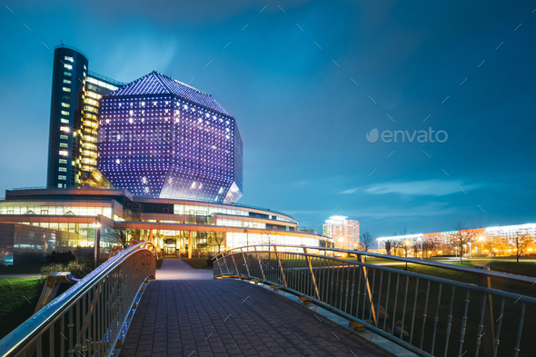 Minsk, Belarus. National Library Building In Evening Night Illum - Stock Photo - Images