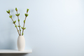 Branches with green spring buds in vase on shelf near blue wall with text space - PhotoDune Item for Sale