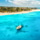 Aerial view of the fishing boat in clear blue water - PhotoDune Item for Sale