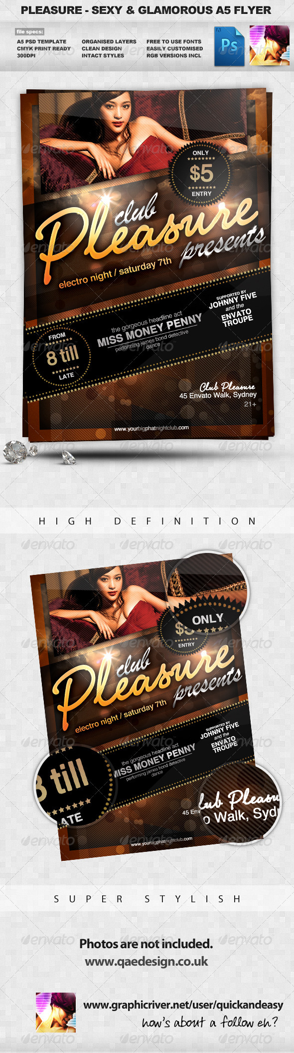 Pleasure - Sexy & Glamorous PSD A5 Flyer Template - Clubs & Parties Events