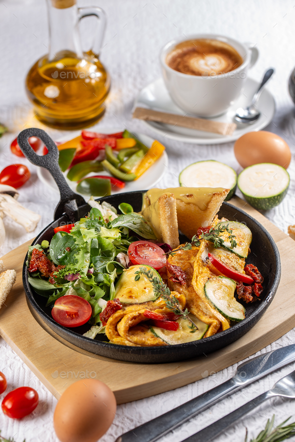 Omelet with vegetables - Stock Photo - Images