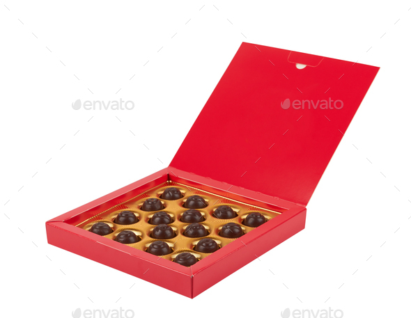 chocolate candy in a box - Stock Photo - Images
