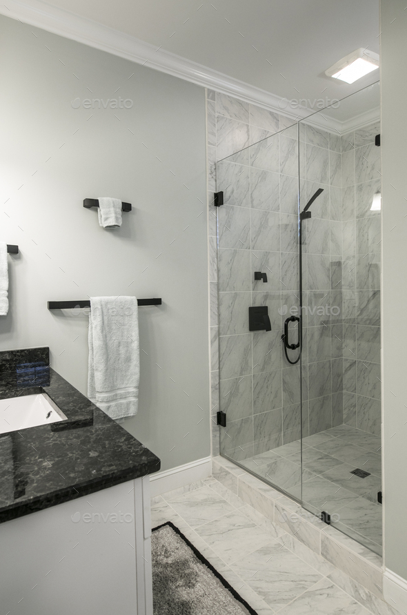 Modern Bathroom.Modern Bathroom With Glass Shower And Marble Tile