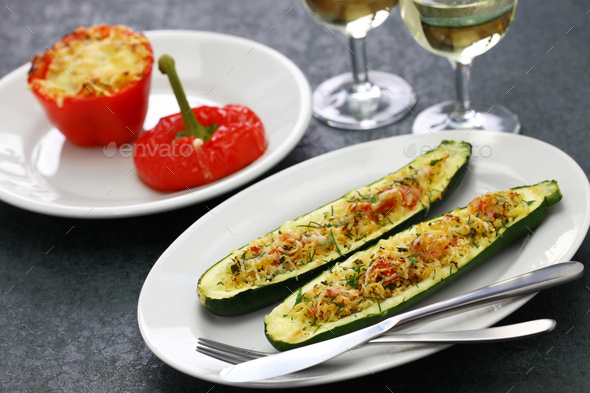 baked vegetarian zucchini boats - Stock Photo - Images