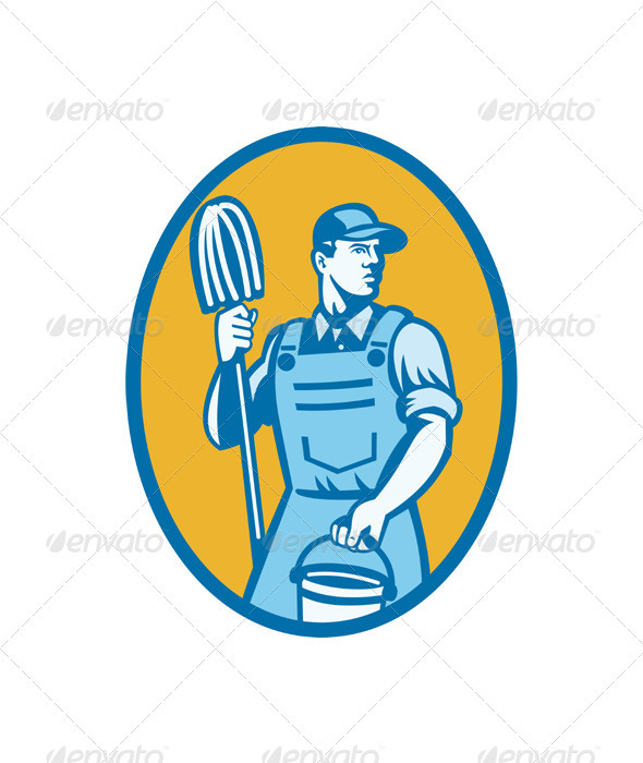 Cleaner Worker With Mop And Pail - Industries Business