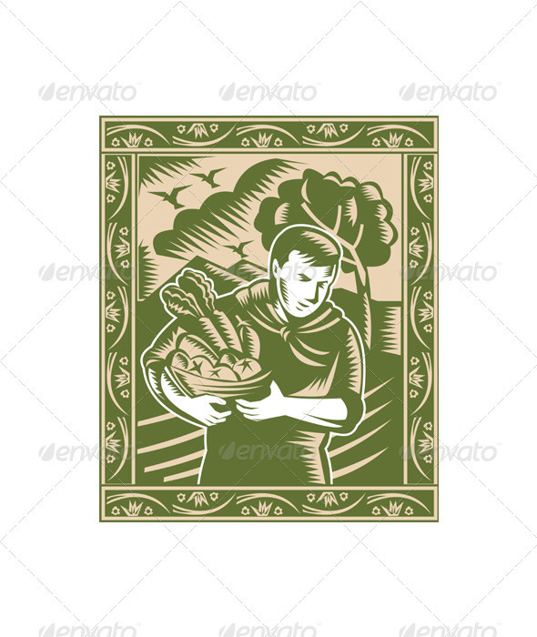Organic Farmer With Basket Harvest Crops Retro - Business Conceptual