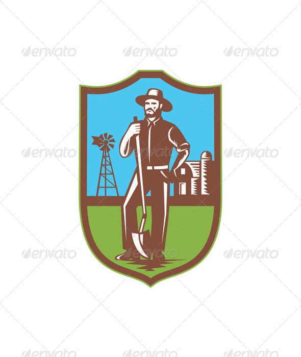 Farmer With Spade Windmill Farm Barn Retro - People Characters