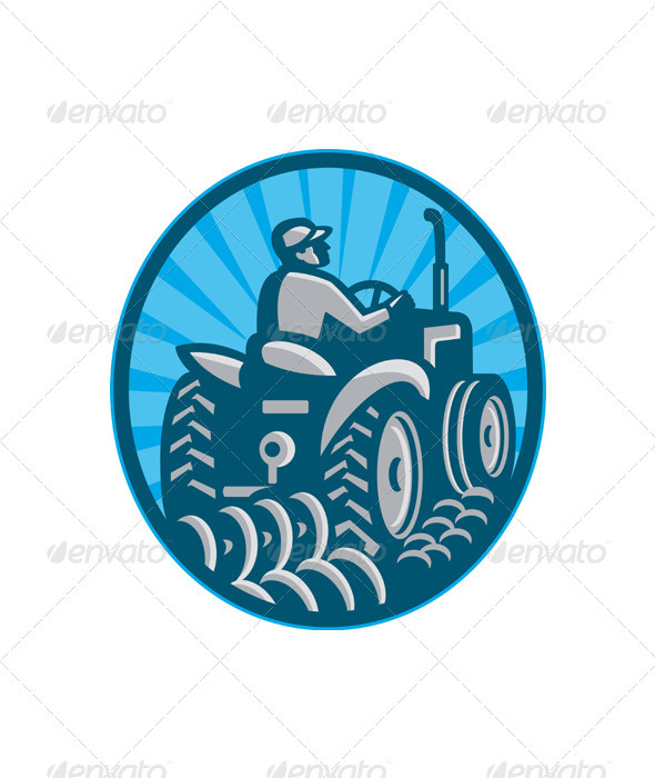 Farmer Plowing With Tractor Retro - Industries Business
