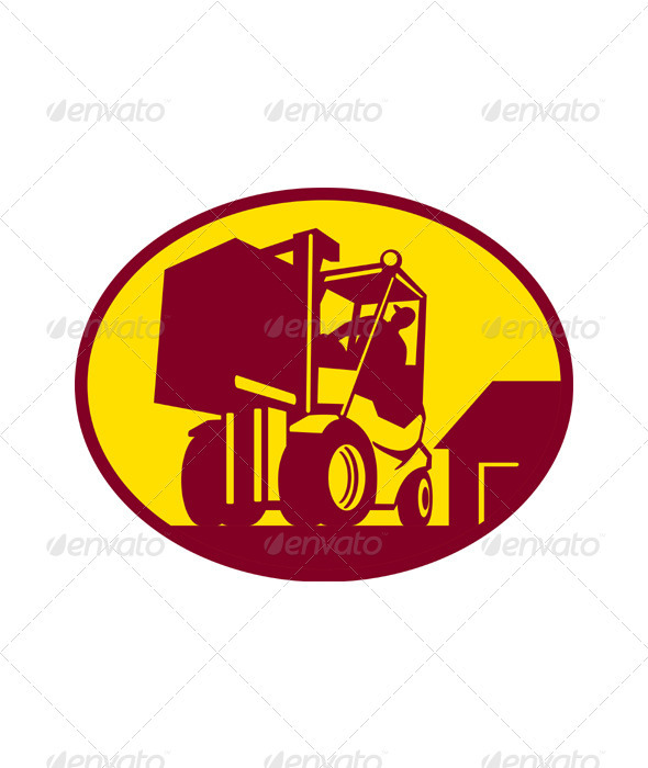 Forklift Truck Operator Retro - Industries Business