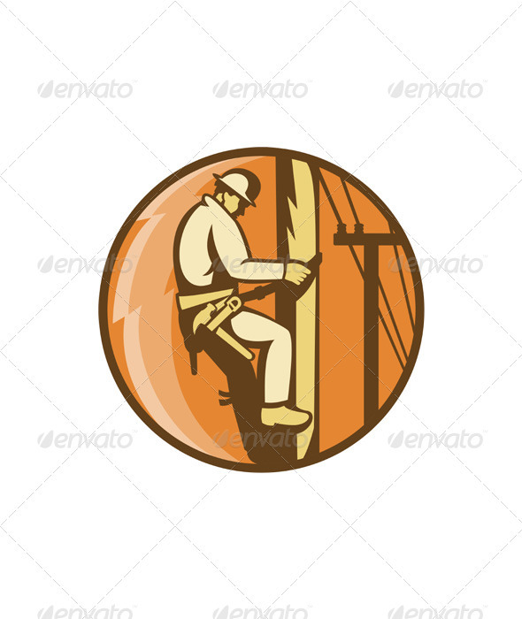 Power Lineman Electrician Climbing Utility Post - People Characters