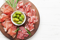 Spanish jamon, prosciutto crudo ham, italian salami - PhotoDune Item for Sale