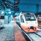 White high speed train on the railway station at night - PhotoDune Item for Sale