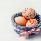 Easter painted eggs in blue the wicker basket - PhotoDune Item for Sale