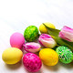 Easter decor with  tulips and green, yellow, pink eggs - PhotoDune Item for Sale