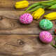 Easter greeting with eggs and yellow red tulips - PhotoDune Item for Sale