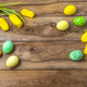 Easter yellow green eggs and tulips, copy space - PhotoDune Item for Sale