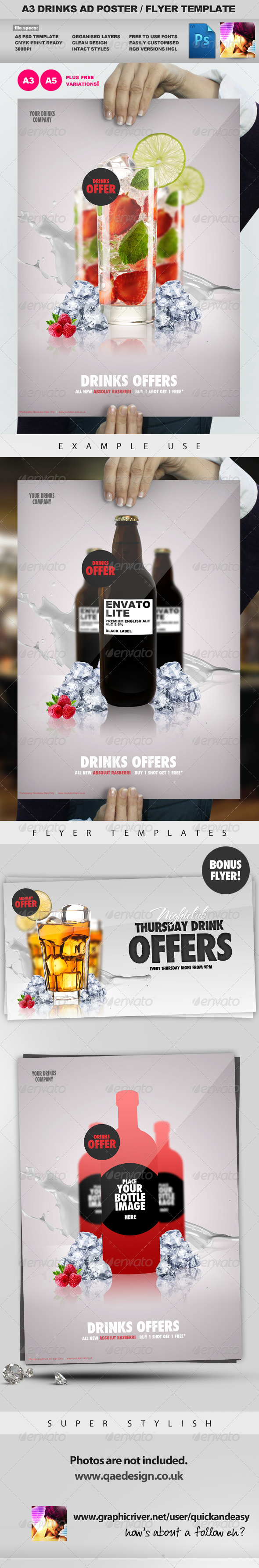 A3 Drinks Promotion Advertisement Poster Template - Commerce Flyers