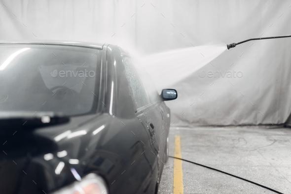 Carwash service, high pressure washing - Stock Photo - Images