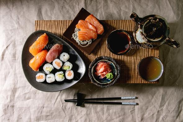 Sushi Set nigiri and sushi rolls - Stock Photo - Images