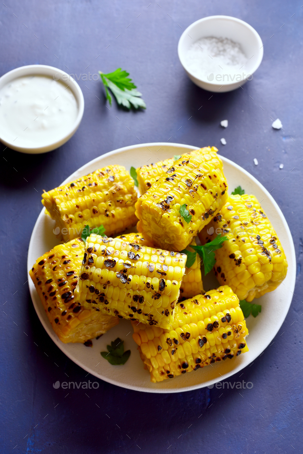 Grilled sweet corn - Stock Photo - Images