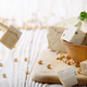 Soy Bean curd tofu in wooden bowl on white wooden kitchen table. - PhotoDune Item for Sale