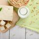 Flat lay of Non-dairy alternatives Soy milk or yogurt in glass b - PhotoDune Item for Sale