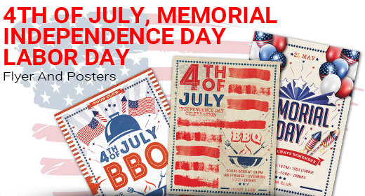 4th of July, Memorial, Independence, Labor Day Flyer And Posters