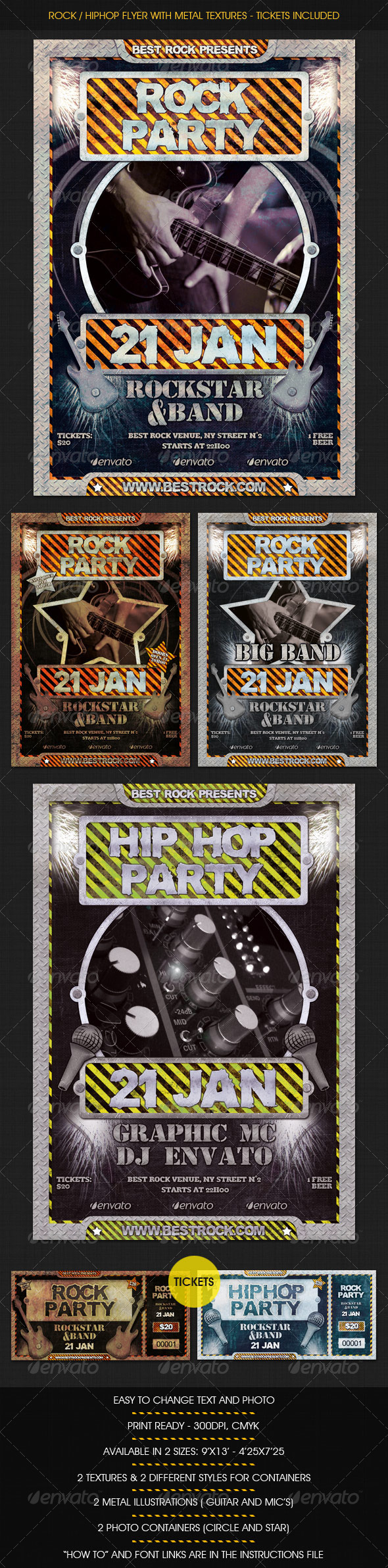 Rock / HipHop flyer w/ Tickets - Clubs & Parties Events