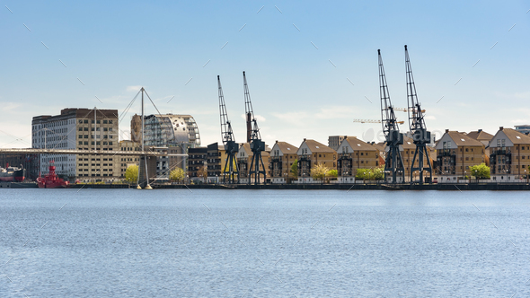 Panoramic view of houses at Royal Victoria Dock in London - Stock Photo - Images