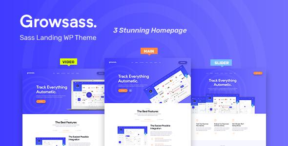 Growsass – Software Landing Page WordPress Theme Free Download