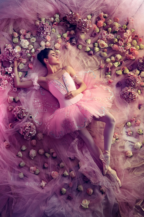 Young woman in pink ballet tutu surrounded by flowers - Stock Photo - Images