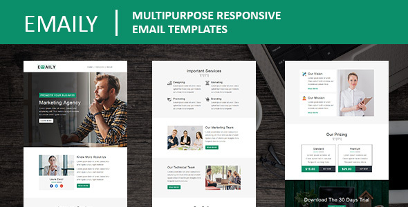 Emaily - Multipurpose Responsive Email Template With Online StampReady Builder Access by fourdinos