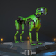 Green robot dog stands on a charging dock - PhotoDune Item for Sale