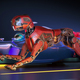Red robot dog is racing with sport car - PhotoDune Item for Sale