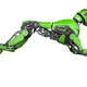 Green Robot dog runs on a white background - PhotoDune Item for Sale