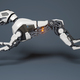 Robot dog runs on a gray background. - PhotoDune Item for Sale