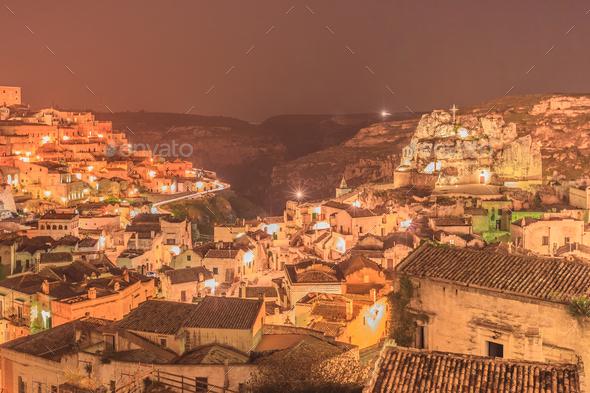 Sassi di Matera at night. Italy - Stock Photo - Images
