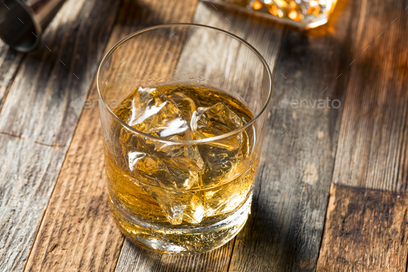 Amber Whiskey on the Rocks - Stock Photo - Images