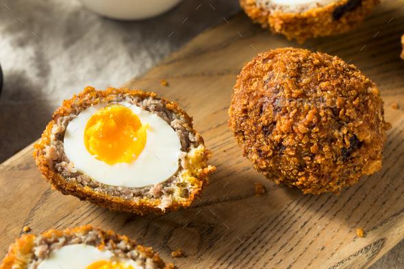 Homemade English Scotch Eggs - Stock Photo - Images