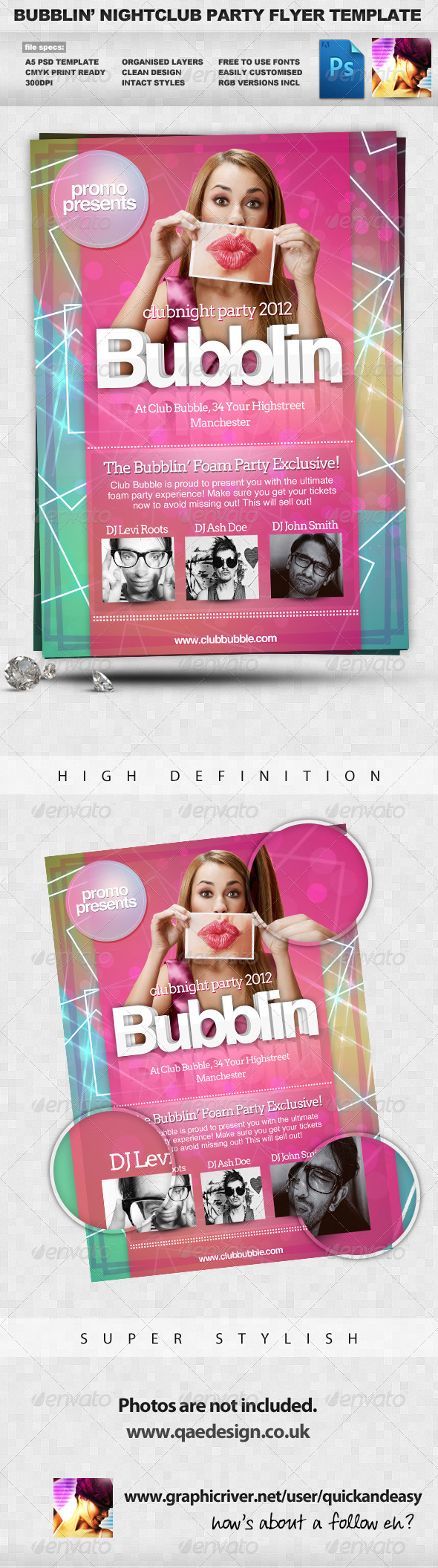 Bubblin - Clean A5 Multiuse PSD Flyer Template - Clubs & Parties Events