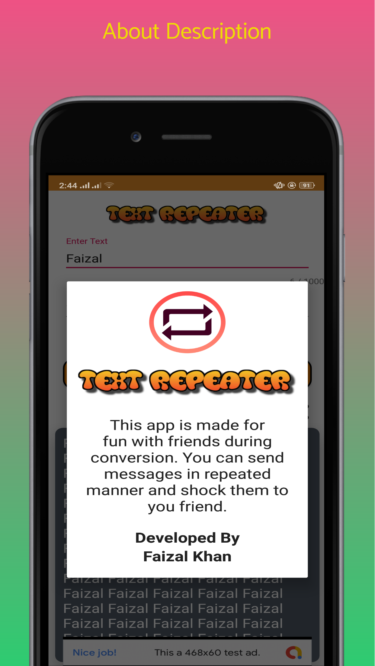 Text Repeater - Android Native App Source Code