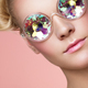 Portrait of beautiful young woman with colored glasses - PhotoDune Item for Sale