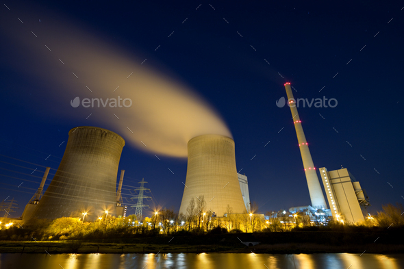 Power Plant At Night - Stock Photo - Images